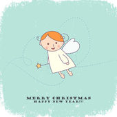 Christmas card with angel — Stok Vektör