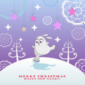 Christmas card with skating bunny — Stock Vector