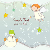 Christmas card with angel and snowman — Stock Vector