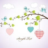 Card design with hearts on the branch — Stock Vector