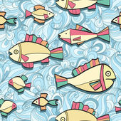 Seamless pattern wish funny fishes — Stock Vector