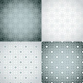 Set of nine monochrome seamless patterns. — Stock Vector