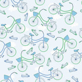 Seamless pattern with bicycles. — Stockvector