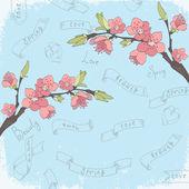 Cherry branch in blossom on retro background. — Stock vektor