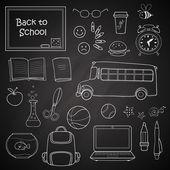 Set of different school items. — Stockvector