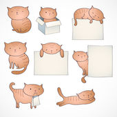 Set of four funny cats — Stock Vector