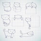 组的四个滑稽的猫 — 图库矢量图片
