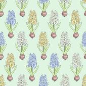 Conception de cartes avec la floraison des jacinthes. — Vecteur