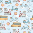 Seamless transportation pattern. — Stockvektor