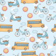 Seamless transportation pattern. — ストックベクタ