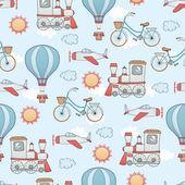 Seamless transportation pattern — Stock Vector