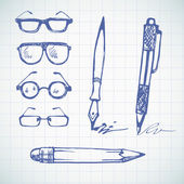 Hand drawn pens and glasses. — Stock Vector