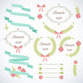 Vintage wreaths, Banners and Bows — Stock Vector