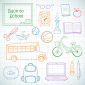 Set of different school items. — Stock Vector