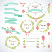 Set of retro ribbons and frames. — Stock Vector