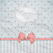 Vintage card design with decorative ribbon and bow — Vector de stock