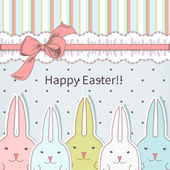 Easter card with cute bunny — Stock Vector