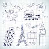 Travel set — Stock Vector
