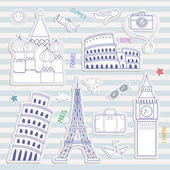 World famous landmarks illustration. — Vecteur