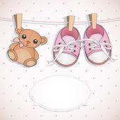 Baby girl shower card. — Stock Vector