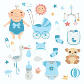 Baby boy shower. — Stock Vector