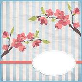 Cherry branch in blossom. — Vector de stock