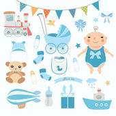 Baby boy shower. — Stock Vector
