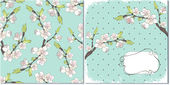 Cherry branch in blossom — Vector de stock