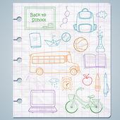 Set of different school items — Stock Vector