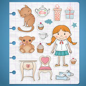 Birthday set with little girl — Stock vektor