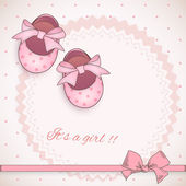 Baby girl shower card — Vector de stock