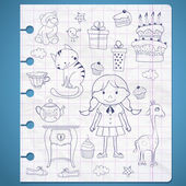Birthday set with little girl. — Vector de stock