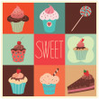 Set of vector sweet cupcakes — Stock Vector #41010547