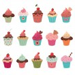 Delicious yummy cupcakes set — Stock Vector