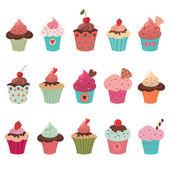 Delicious yummy cupcakes set — Stock Vector