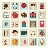 Torna a icone di scuola — Vettoriale Stock