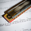 Stock Photo: Note sheet and harmonica