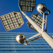 Streetlight and office building — Stock Photo