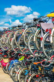 Bicycles in a parking rack — Stock Photo