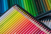 Detail of colorful crayons in a box — Stock Photo