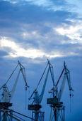 Harbor cranes in the evening — Stock Photo