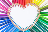 Heart made of Colorful Crayons — Stock Photo