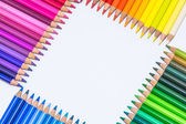 Square Built with Colorful Crayons — Stock Photo