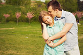 Beautiful couple on a date walking at the park. Copy space — Foto Stock
