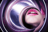Creative art Beauty close up portrait of a brunette woman with pink lipstick in reflector — Stock Photo