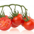 Stock Photo: Ripe tomatus on white background