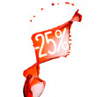 图库照片: Red wine splash. 25 percent Sale Discount. Isolated on white ba