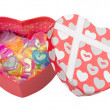 Gift box with hearts — Stock Photo