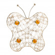 Stock Photo: Gold filigree butterfly on white background