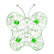 Stock Photo: Green filigree butterfly on white background